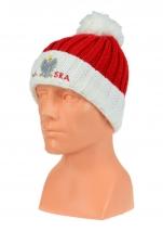 czapka zimowa POLSKI  pompon (czerwona) wzór P-08