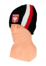 czapka zimowa POLSKI czarna (pionowy pas - herb) wzór G-18