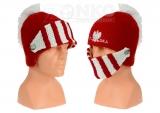 czapka zimowa POLSKI hełm czerwona wzór G-20