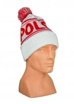 czapka zimowa POLSKI biała (żakard) wzór P-10