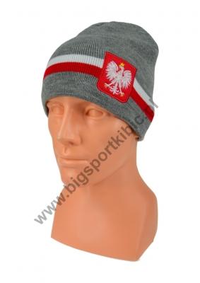 czapka zimowa POLSKI szara (flaga) wzór C-29