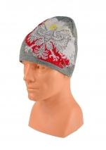 czapka zimowa POLSKI szara (żakard) wzór C-31