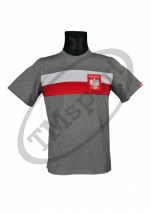 koszulka bawełniana męska kibica Polski flaga szara (KB-16)
