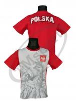 koszulka bawełniana kibica POLSKA łączona czerwona (KB-06)