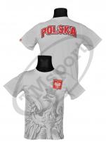 koszulka bawełniana kibica POLSKA łączona biała (KB-05)