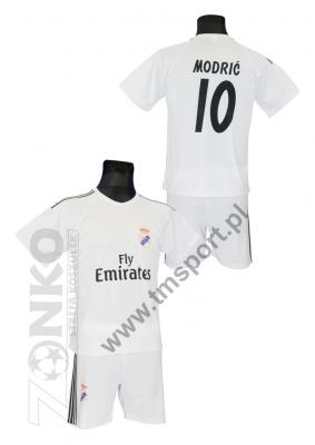 12d89ea75 strój sportowy MODRIĆ Real biały. komplet piłkarski (koszulka ...