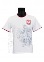 koszulka bawełniana kibica POLSKI biała cień orła (KB-14)