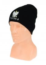 czapka jesień/zima POLSKI czarna (napis) wzór C-01