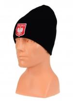 czapka jesień/zima POLSKI czarna (herb) wzór C-02