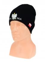 czapka jesień/zima POLSKI czarna (napis pół na pół) wzór C-03