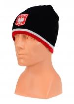 czapka jesień/zima POLSKI czarna z paskiem (herb) wzór C-05