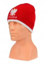 czapka jesień/zima POLSKI czerwona (napis) wzór C-07