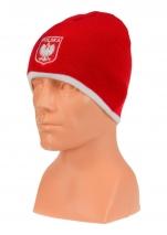 czapka jesień/zima POLSKI czerwona (herb) wzór C-08