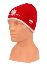 czapka jesień/zima POLSKI czerwona - (napis pół na pół) wzór C-09