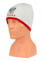 czapka jesień/zima POLSKI biała (napis) wzór C-10
