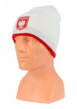 czapka jesień/zima POLSKI biała (herb) wzór C-11