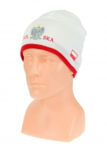 czapka jesień/zima POLSKI biała (napis pół na pół) wzór C-12