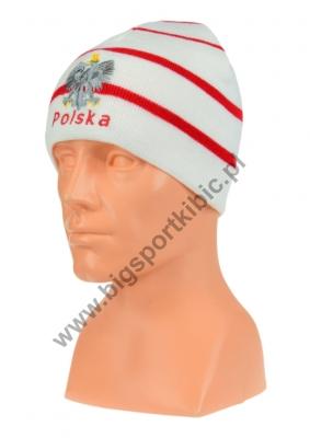 czapka jesień/zima POLSKI biała w paski (napis) wzór C-13
