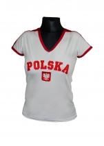 koszulka bawełniana damska kibica POLSKI biała (haft) (KB-22)