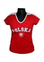koszulka bawełniana damska kibica POLSKI czerwona (haft) (KB-23)