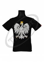 koszulka bawełniana męska kibica POLSKI duży orzeł czarna (KB-20)