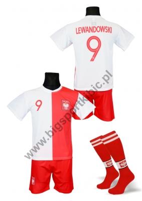 strój piłkarski + getry LEWANDOWSKI Polska jubileuszowa