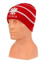 czapka jesień/zima POLSKI czerwona w paski (napis) wzór C-16