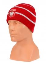 czapka jesień/zima POLSKI czerwona w paski (herb) wzór C-17