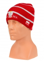 czapka jesień/zima POLSKI czerwona w paski (napis pół na pół) wzór C-18
