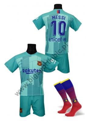 strój piłkarski + getry MESSI Barcelona wyjazdowy