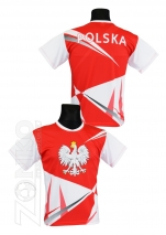 koszulka sportowa kibica POLSKA pasek (K-25)
