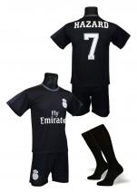 strój piłkarski + getry HAZARD Real czarny wyjazdowy