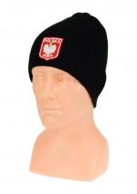 czapka zimowa POLSKI czarna (herb) wzór G-02