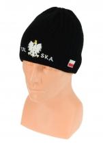 czapka zimowa POLSKI czarna (napis pół na pół) wzór G-03