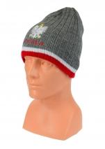 czapka zimowa POLSKI  szara z paskiem (napis) wzór G-22