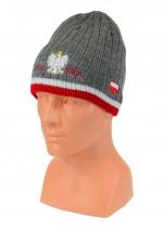 czapka zimowa POLSKI szara z paskiem (napis pół na pół) wzór G-23
