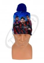czapka zimowa FC BARCELONA drukowana