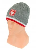 czapka zimowa POLSKI szara (herb) wzór G-24