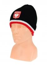 czapka zimowa POLSKI - czarna z paskiem (herb) wzór G-05