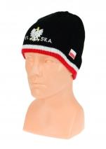 czapka zimowa POLSKI czarna z paskiem (napis pół na pół) wzór G-06