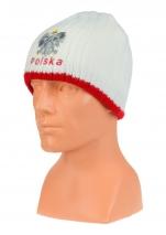 czapka zimowa POLSKI - biała (napis) wzór G-07