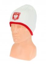 czapka zimowa POLSKI - biała (herb) wzór G-08