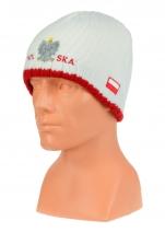 czapka zimowa POLSKI- biała (napis pół na pół) wzór G-09