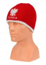 czapka zimowa POLSKI - czerwona (napis) wzór G-10