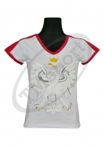 koszulka bawełniana damska kibica POLSKI - biała orzeł