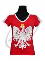 koszulka bawełniana damska kibica POLSKI czerwona orzeł (KB-10)