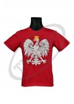 koszulka bawełniana kibica POLSKI duży orzeł czerwona GRAMATURA 150 (KB-29)