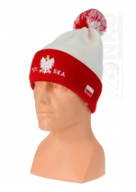czapka zimowa POLSKI prosta biała z wywinięciem wzór P-13