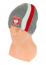 czapka zimowa POLSKI szara (pionowy pas - herb) wzór G-26