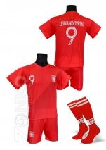 strój sportowy + getry LEWANDOWSKI Polska czerwony